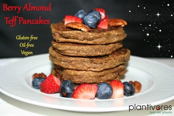 Berry Almond Teff Pancakes (GF, Oil-free, Vegan)